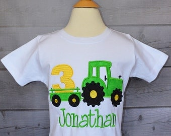 Personalized Birthday Tractor with Trailer Applique Shirt or Onesie Girl or Boy