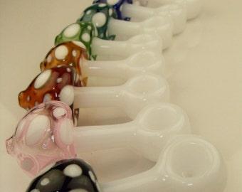 Red Spectrum Mushroom Variety - medium shaped standing novelty glass pipe