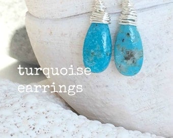 turquoise earrings turquoise jewelry 925 sterling silver turquoise earrings arizona turquoise natural turquoise gemstones Bridesmaid gifts