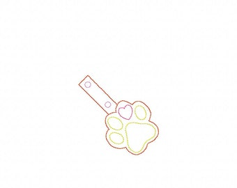 Paw Print Bean Stitch Outline - In The Hoop - Snap/Rivet Key Fob - DIGITAL Embroidery Design
