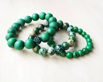 Green Bead Bracelet Set//Green Stretch Bracelet Set