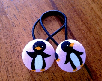 Penguin fabric button hair ties/ Hair Elastics for girls
