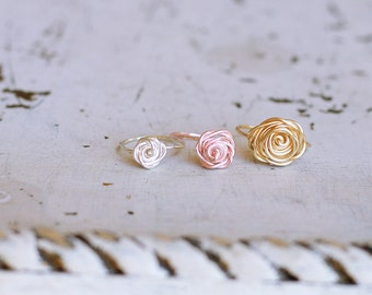 Rose Ring Rose Gold ,14K Gold-Filled, Sterling Silver, Flower Girl, Girlfriend Gift, Bridesmaids Ring, Valentine's ,Anniversary