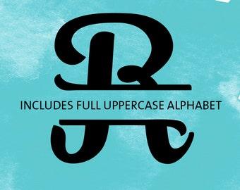 SVG Font - Monogram Split Letter Cut file - Full Alphabet - for Vinyl HTV Scrapbook Cardmaking Stencil Fabric - Silhouette Cricut Cut File