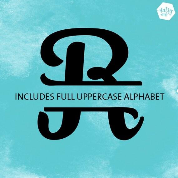 Svg Font Monogram Split Letter Cut File Full Alphabet
