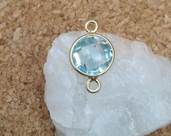 Blue Topaz Link, Blue Topaz Faceted Coin Link in Gold Vermeil, Diy Blue Topaz Necklace, Gemstone Bracelet, Jewelry Connector, Gold Vermeil