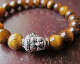 Tigereye Buddha Bracelet, Gemstone Bracelet, Wrist Mala, Yoga Bracelet, Yoga Jewelry, Meditation, Energy Bracelet, Mens Beaded Bracelet