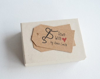 Sewn With Love - Customized Product and Merchandise Tag - Small Custom Knitting Tags, Sewing Tags, Quilting Tags