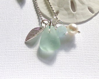 Leaf Sea Glass Necklace Genuine Beach Glass