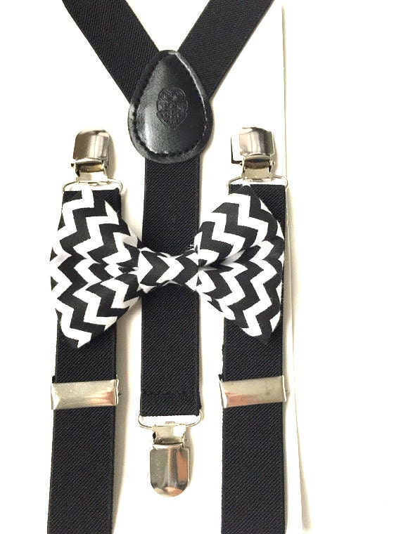 Black Suspenders and Chevron Bow Tie