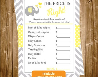 Baby Shower The Price is Right, Elephant The Price is Right Game, The Price is Right, Elephant Baby Shower Printable Game, INSTANT DOWNLOAD