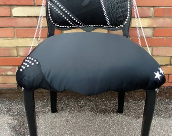 FREE FEDEX SHIPPING - Accent Chair - Punk Rock - Studded Chair - Black Chair - Side Chair - Rock and Roll