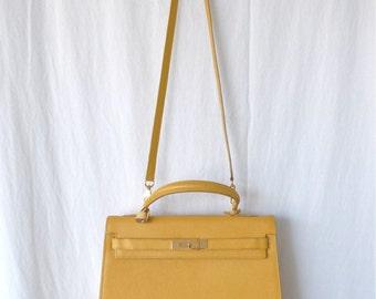 Yellow Leather Satchel Handbag