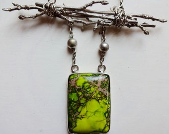 Lost in a forest. Green picture jasper and silver twigs necklace, handmade, one of a kind