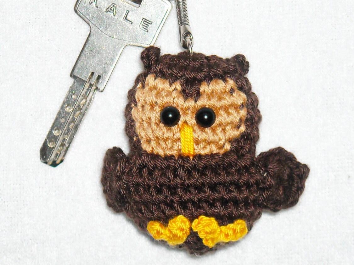 Amigurumi owl keychain croche owl keyring Crochet owl Chibi