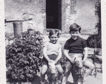 Vintage Snapshot Photo - Two Little Boys On Ride-On Toy Horses