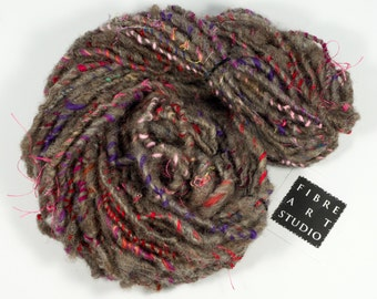Art Yarn | Handspun Yarn | Natural Light Brown Wool Yarn for Knitting | Upcycled Yarn with Jewel Color Add-in | From Granville Island