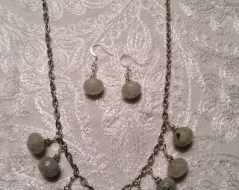 Prehnite Green Stone Necklace and Earrings