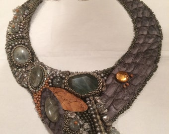 SOLD. Bead Embroidery Collar