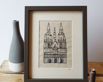 Freehand Machine Embroidery and Applique Lichfield Cathedral Stitched Picture