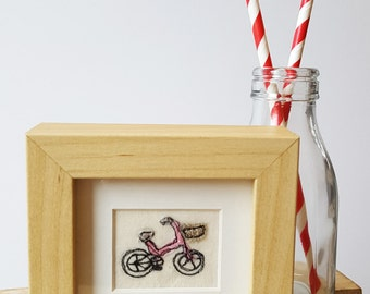 Freehand machine embroidery and applique mini bike stitched picture