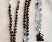 Mother Earth Mala - 108 Bead Mala, Fluorite Mala, Green Sandalwood Mala, Hand Knotted Mala, Fertility Mala, Pregnancy Mala