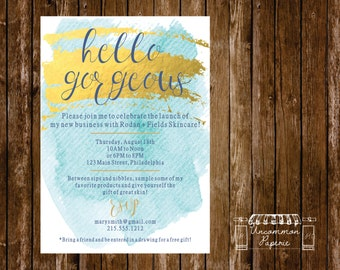 Aqua Gold Foil Cocktail Party | Launch Party | Invitation | Rodan + Fields