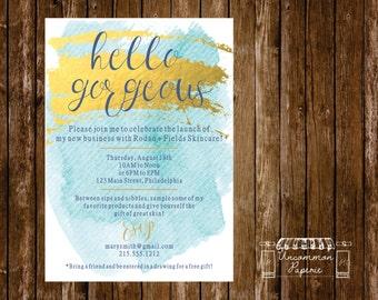 aqua gold foil cocktail party launch party invitation rodan fields - Launch Party Invitation