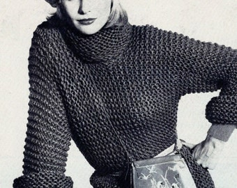 Easy Knit Pullover Sweater Vintage Knitting Pattern Download