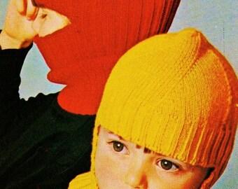 Child's Winter Helmet Vintage Knitting Pattern Download
