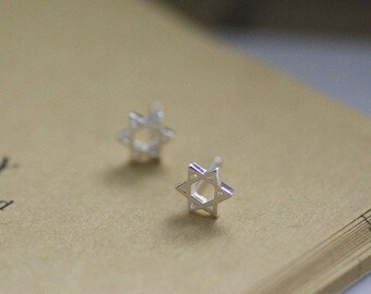 Sterling Silver Six-Pointed Star Hexagram Stud Earring
