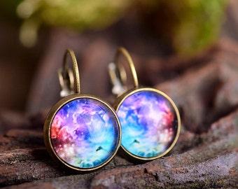 Galaxy earrings, space earrings, dangle earrings, antique brass earrings, nebula earrings, antique bronze / silver plated