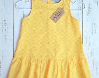 Yellow Girls Dress White Dots Cotton Sleevless