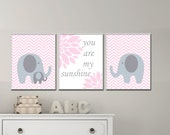 Baby Girl Nursery Pink and Gray Elephant Wall Art Print, Baby Girl You Are My Sunshine Chevron Wall Art, Girls Bedroom Decor -H211