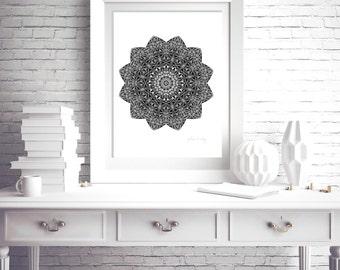 Black mandala flower monochrome print for wall dark grey decor black and white poster print 11x14 modern apartment art print for frame 5x7