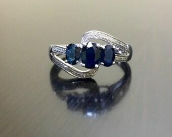 Art Deco Sapphire Diamond Engagement Ring - Blue Sapphire Art Deco Diamond Wedding Ring - Sterling Silver Oval Sapphire Ring - Diamond Ring