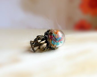 Baby breath nature ring jewelry , Mini terrarium ring  , Botanical jewellery  , Real flower ring gift for her