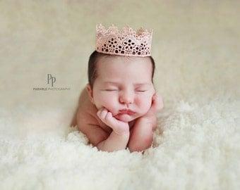 Baby crown, Newborn pink crown, Photography prop, Birthday cake crown, Cake smash crown, Mini pink Crown, Newborn prop, Princess lace crown