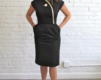 1960s Black Dress with Pockets // 60s Dress // Vintage Black and Cream 1960s Sheath Dress
