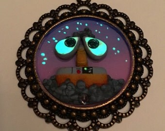 Hand Sculpted and Painted Glow-in-the-Dark Wall-E Necklace with Swarovski Crystal