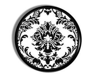 Chic Black and White Medallion Damask Knob - Victorian, Country French, Antique - Dresser Drawer Pull, Cabinet, Door - 914A16