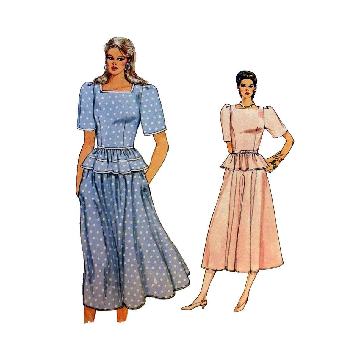 s peplum top and flared midi skirt sewing pattern