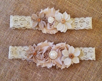 Country Chic Wedding Garter,  Vintage Burlap garter, country cottage garter,accessories,Couture wedding,Ivory wedding,