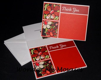 25% SALE  Thank You Card Set - Red Flowers (Blank Inside)