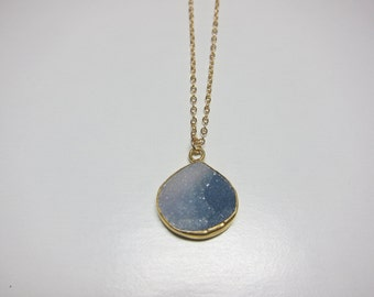Druzy necklace - 14k gold filled chain.