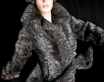 Real broadtail persian jacket fur coat with matching hat leopard printed cuffs
