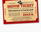 Movie Night Invitation, Movie Party Invitation, Movie Night, Home Theater Movie Ticket, Movie Ticket, Movie Under The Stars