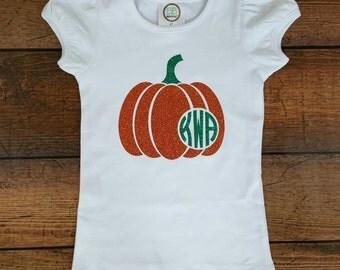 Pumpkin Patch Outfit, Monogram Pumpkin Shirt, Girls Pumpkin Shirt, Monogrammed Pumpkin Shirt, Thanksgiving Outfit, Baby Thanksgiving Shirt
