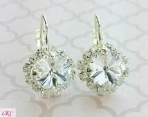 Diamond Bridesmaid Earrings - Crystal Bridesmaid Jewelry - Cubic Zirconia Earrings - Crystal Wedding Earrings - Aretes de Diamante - Brincos