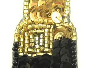 "Lipstick Appliqué with Red, Gold and Black Sequins and Beads  3.5"" x 1""  -15957"
